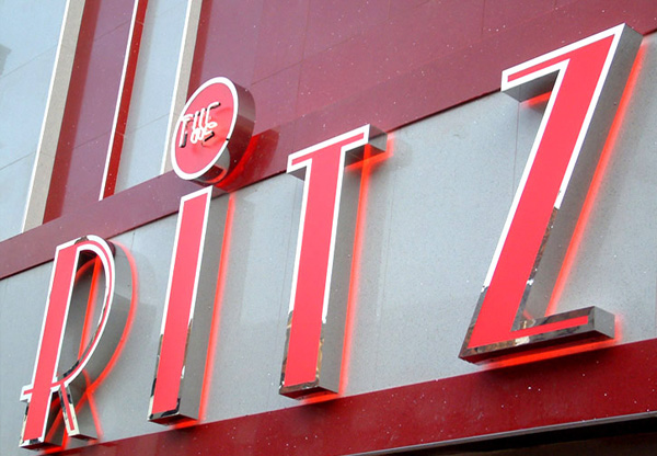 Ritz Nightclub stainless steel, neon and acrylic channel 3D logo