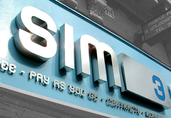 Sim 3 Phone Shop stainless steel 3D sign