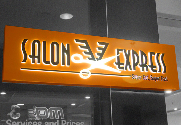 Salon Express lightbox sign