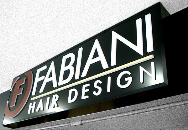 Fabiani Hair lightbox sign