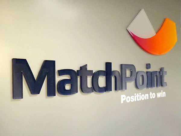 Match Point laser cut acrylic reception sign