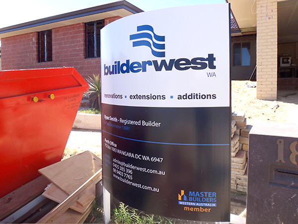 Builderwest curved jobsite sign
