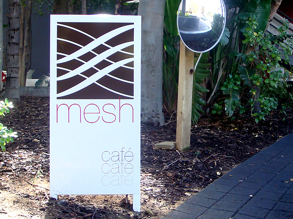 Mesh Cafe post and panel sign