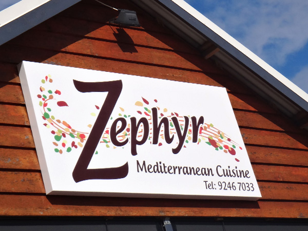 Zephyr Mediterranean Cuisine panel sign