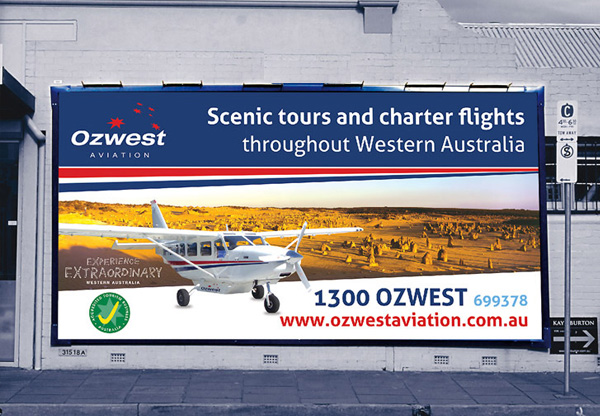 Ozwest Aviation billboard graphic