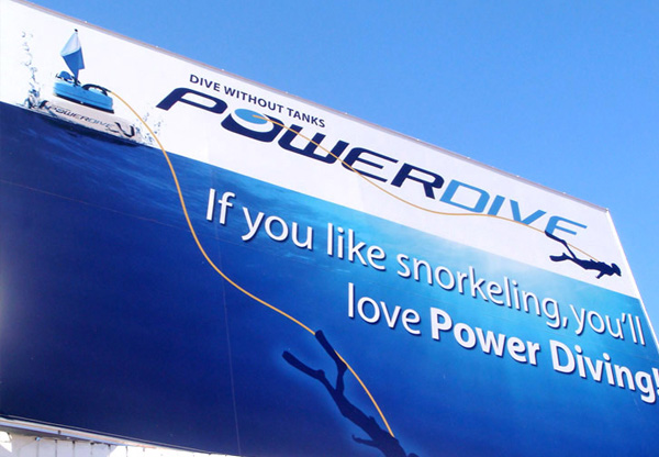 Power Dive stretched PVC billboard graphic