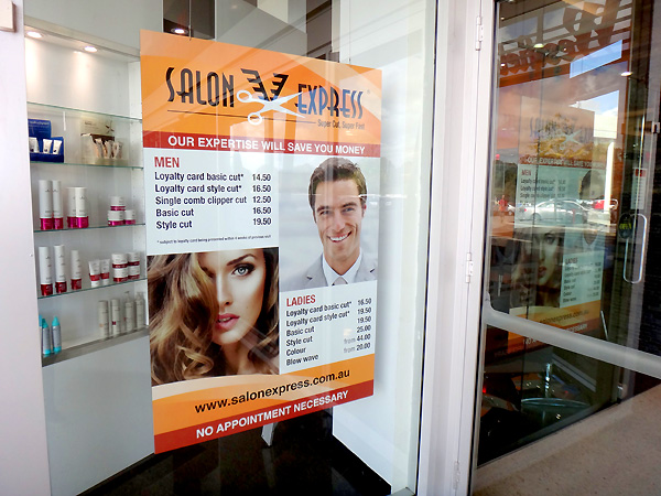 Salon Express hanging acrylic window sign
