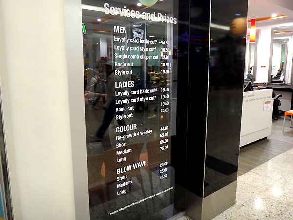 Salon Express cut vinyl window pricelist